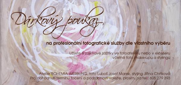 Dárkový poukaz na focení s profesionálním fotografem, vizážistkou - stylistkou ve foto ateliéru