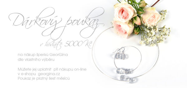 Dárkový poukaz na šperky v hodnotě 5.000, Kč Design © Copyright Jiřina Chrtková FAST SHOTS, s.r.o.