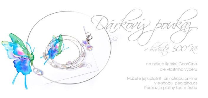Dárkový poukaz na šperky v hodnotě 500, Kč Design © Copyright Jiřina Chrtková FAST SHOTS, s.r.o.