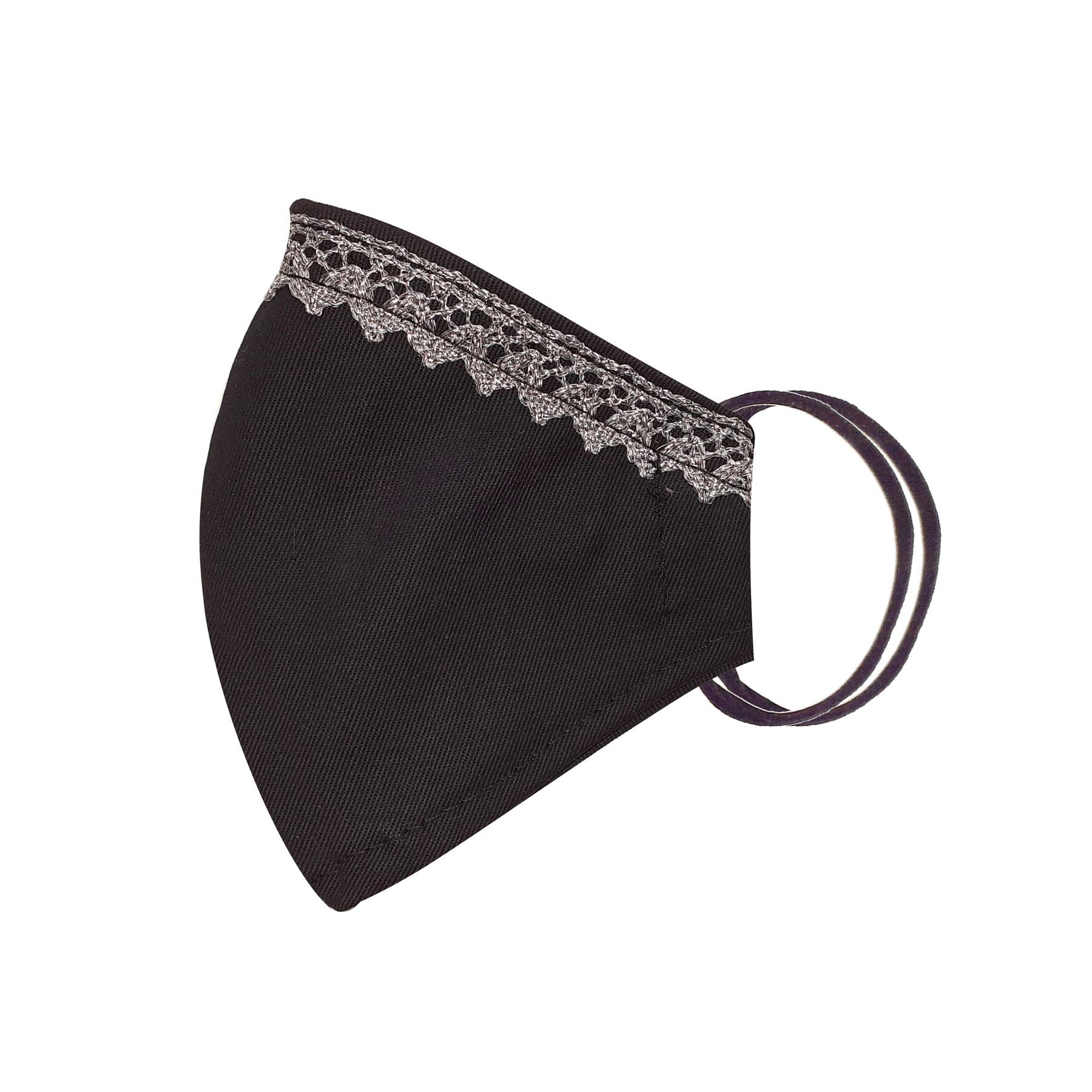 Módní bavlněné ústní roušky tvarované černé s krajkou, třívrstvé s filtrem a s gumičkami dámské