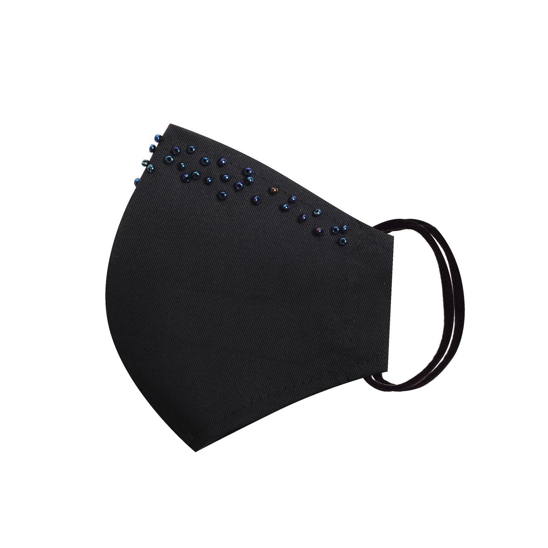 Módní bavlněné ústní roušky tvarované černé s korálky, třívrstvé s filtrem a s gumičkami dámské