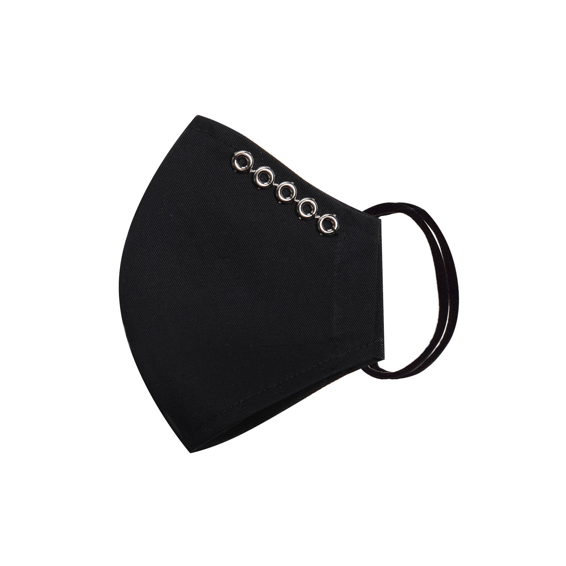 Módní bavlněné ústní roušky tvarované černé s očky, třívrstvé s filtrem a s gumičkami dámské
