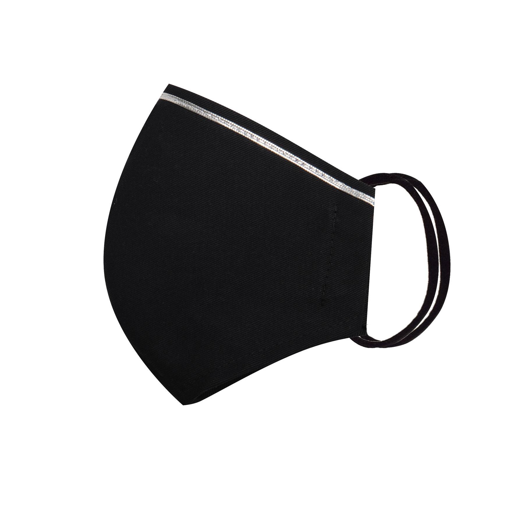 Módní bavlněné ústní roušky tvarované černé se stříbrnou stužkou, třívrstvé s filtrem a s gumičkami dámské