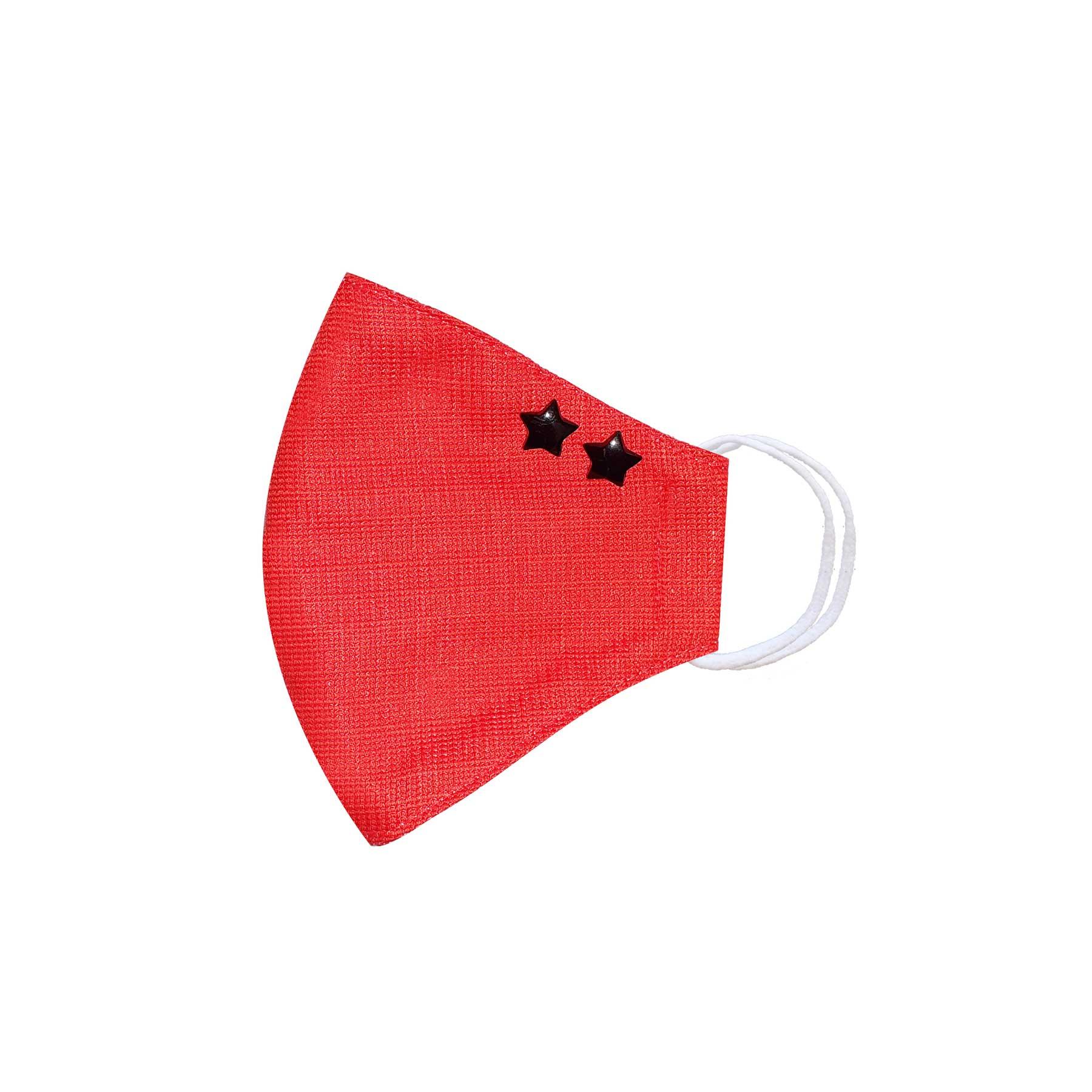 Módní bavlněné ústní roušky tvarované červené s hvězdičkami, třívrstvé s filtrem a s gumičkami dámské