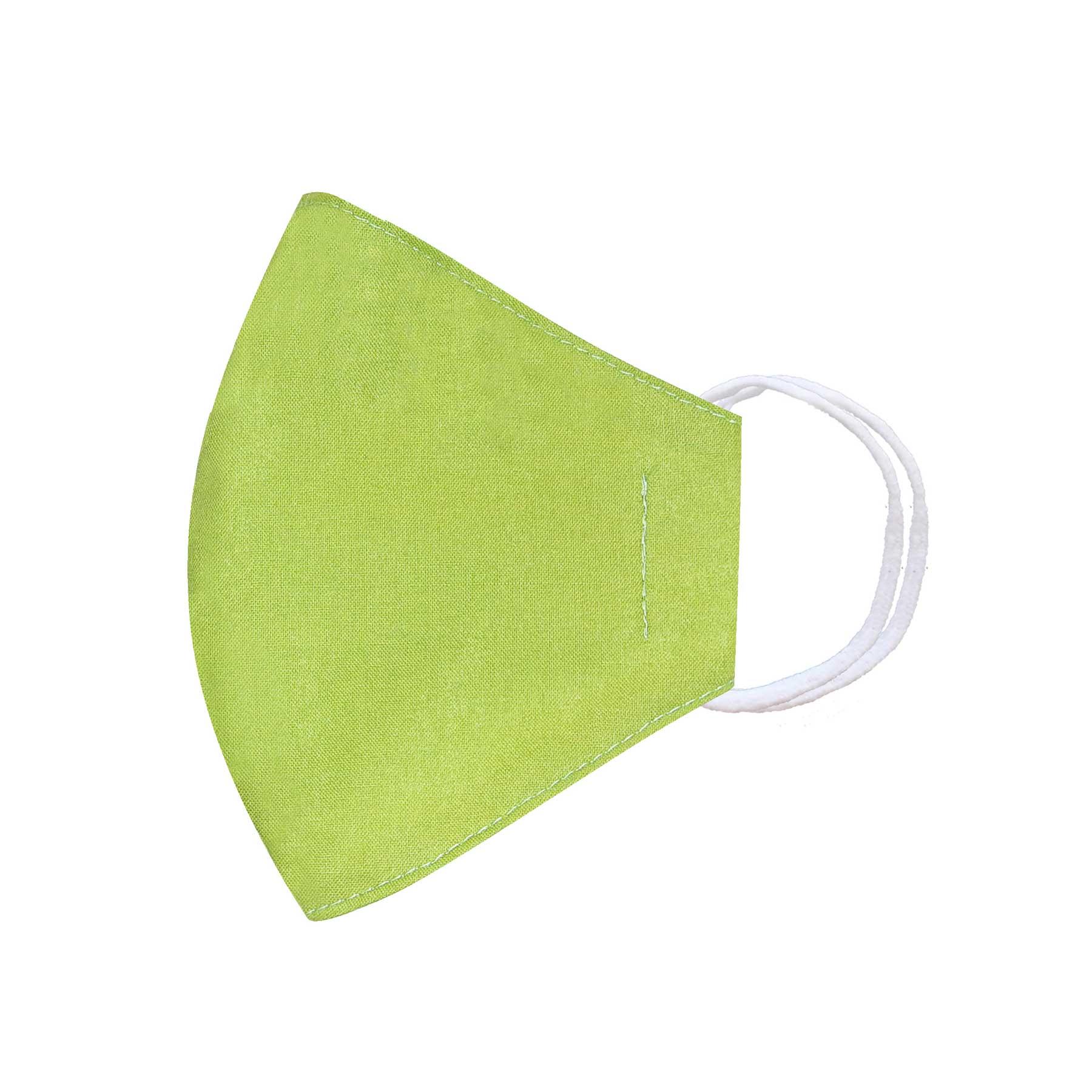 Módní bavlněné ústní roušky tvarované žlutozelené, třívrstvé s filtrem žluto zelené s gumičkami dětské