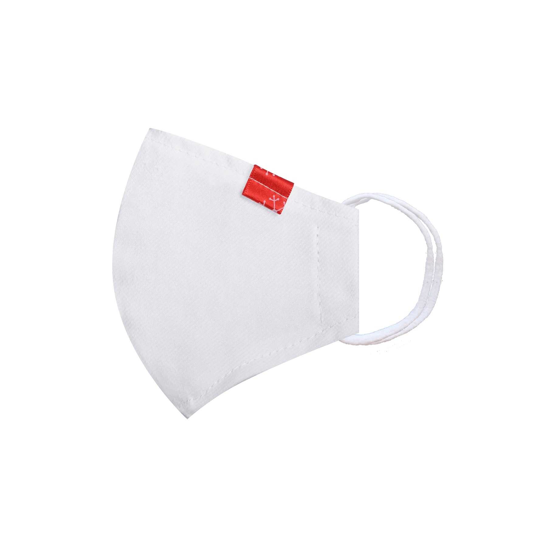 Módní bavlněné ústní roušky tvarované bílá s červenou nášivkou, třívrstvé s filtrem a s gumičkami dětská