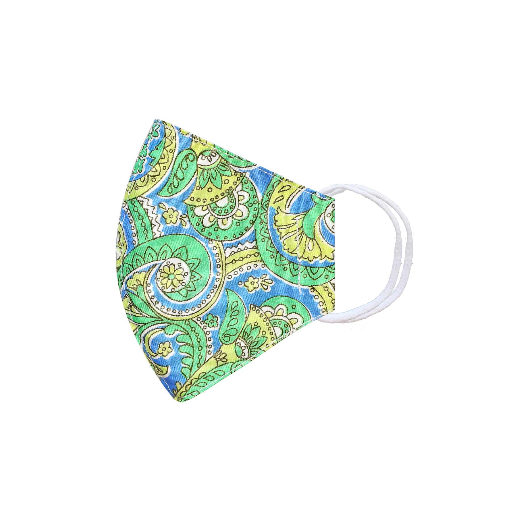 Módní bavlněné ústní roušky tvarované jednobarevné, třívrstvé s filtrem modro zelený vzor s gumičkami dětské