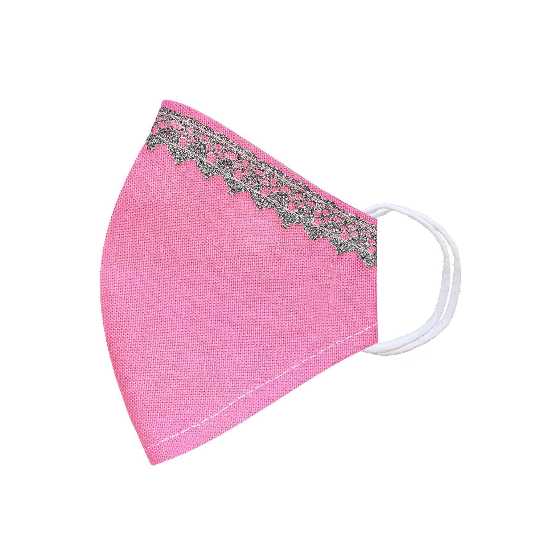 Módní bavlněné ústní roušky tvarované růžové s krajkou, třívrstvé s filtrem a s gumičkami dámské