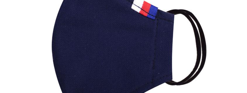Módní bavlněné ústní roušky tvarované tmavě modrá s trikolorou, třívrstvé s filtrem a s gumičkami dámské