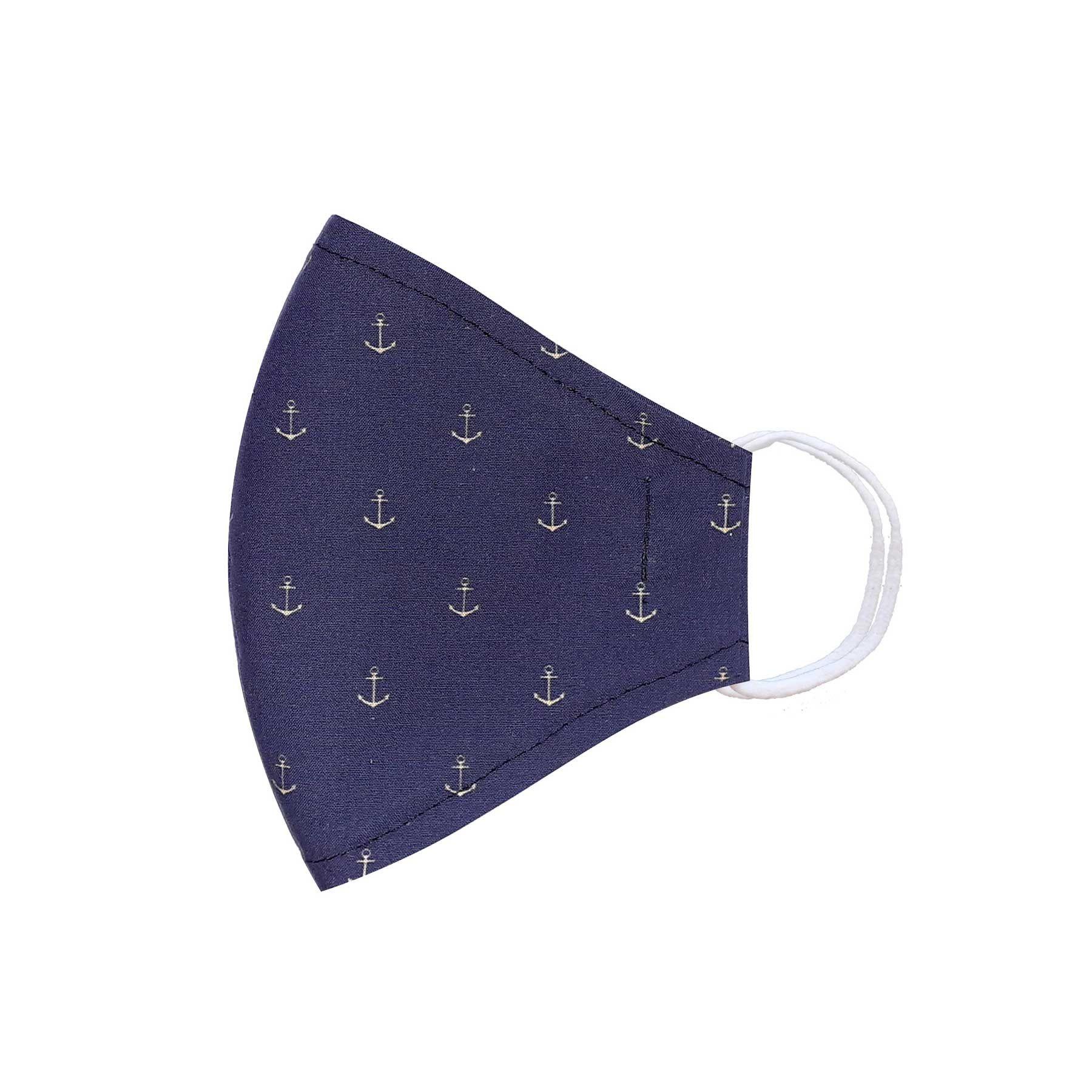 Módní třívrstvé bavlněné ústní roušky tvarované, modrá s kotvičkami s gumičkami pánské