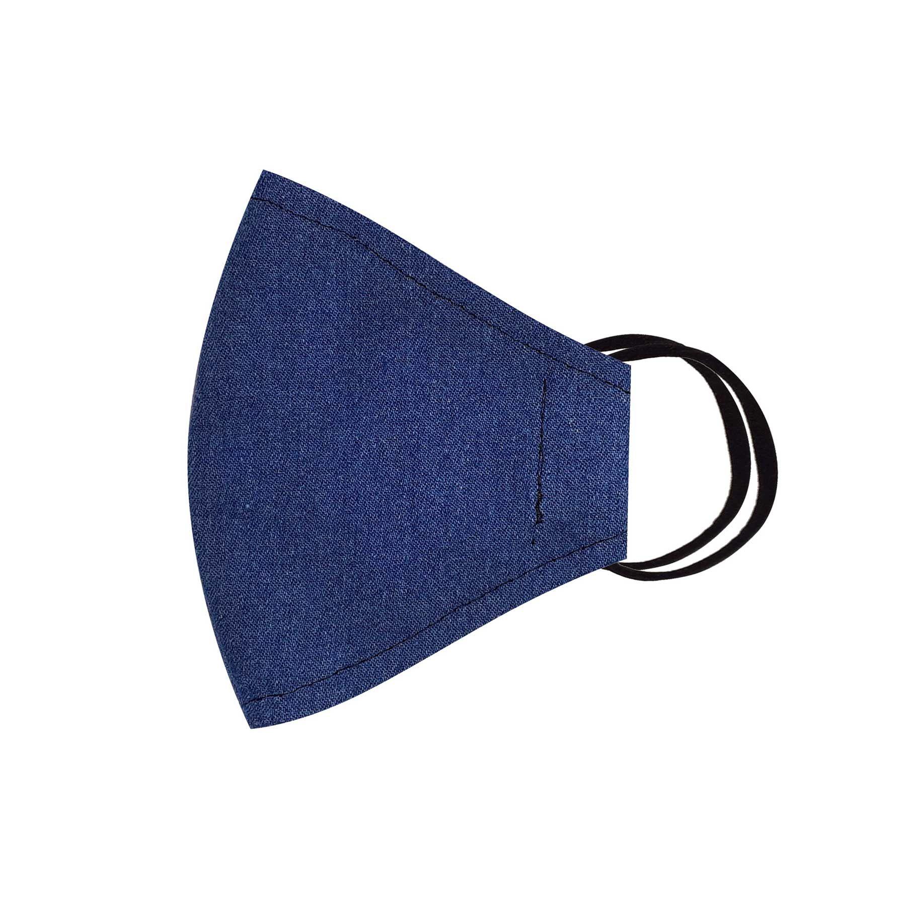 Módní třívrstvé bavlněné ústní roušky tvarované, džínové tmavě modré s gumičkami pánské