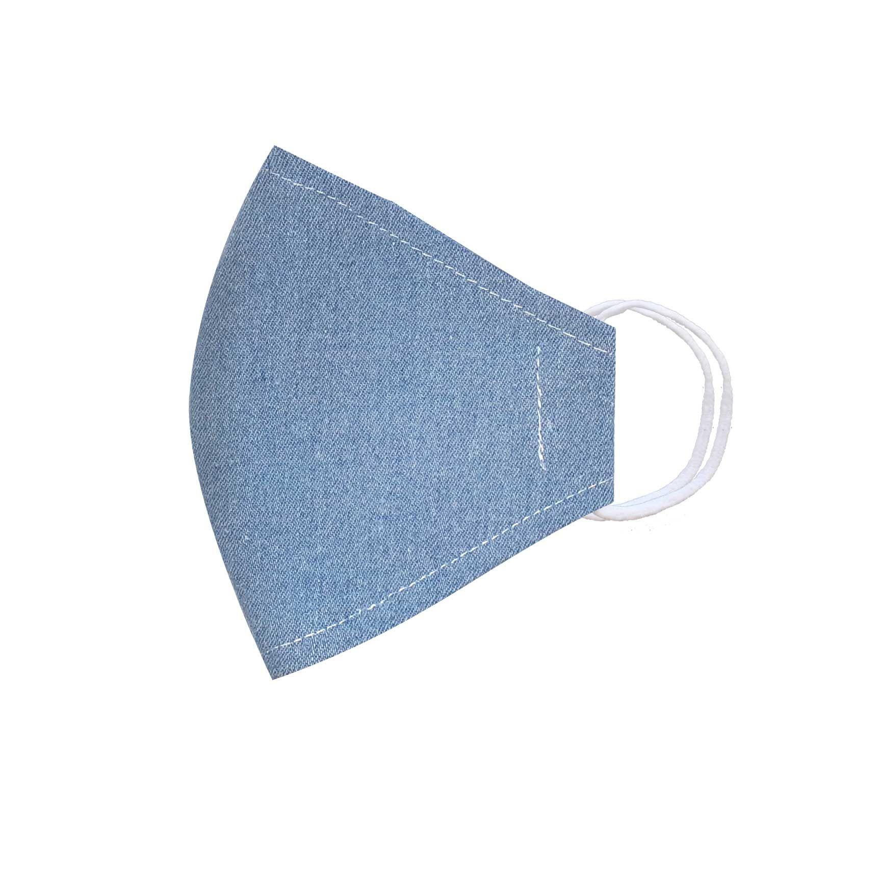 Módní bavlněné třívrstvé ústní roušky tvarované, džínové světle modré s gumičkami dětské
