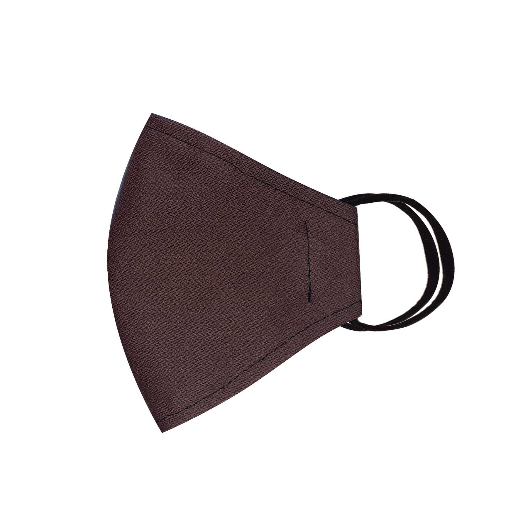 Módní třívrstvé bavlněné ústní roušky tvarované, tmavě hnědé s gumičkami dámské