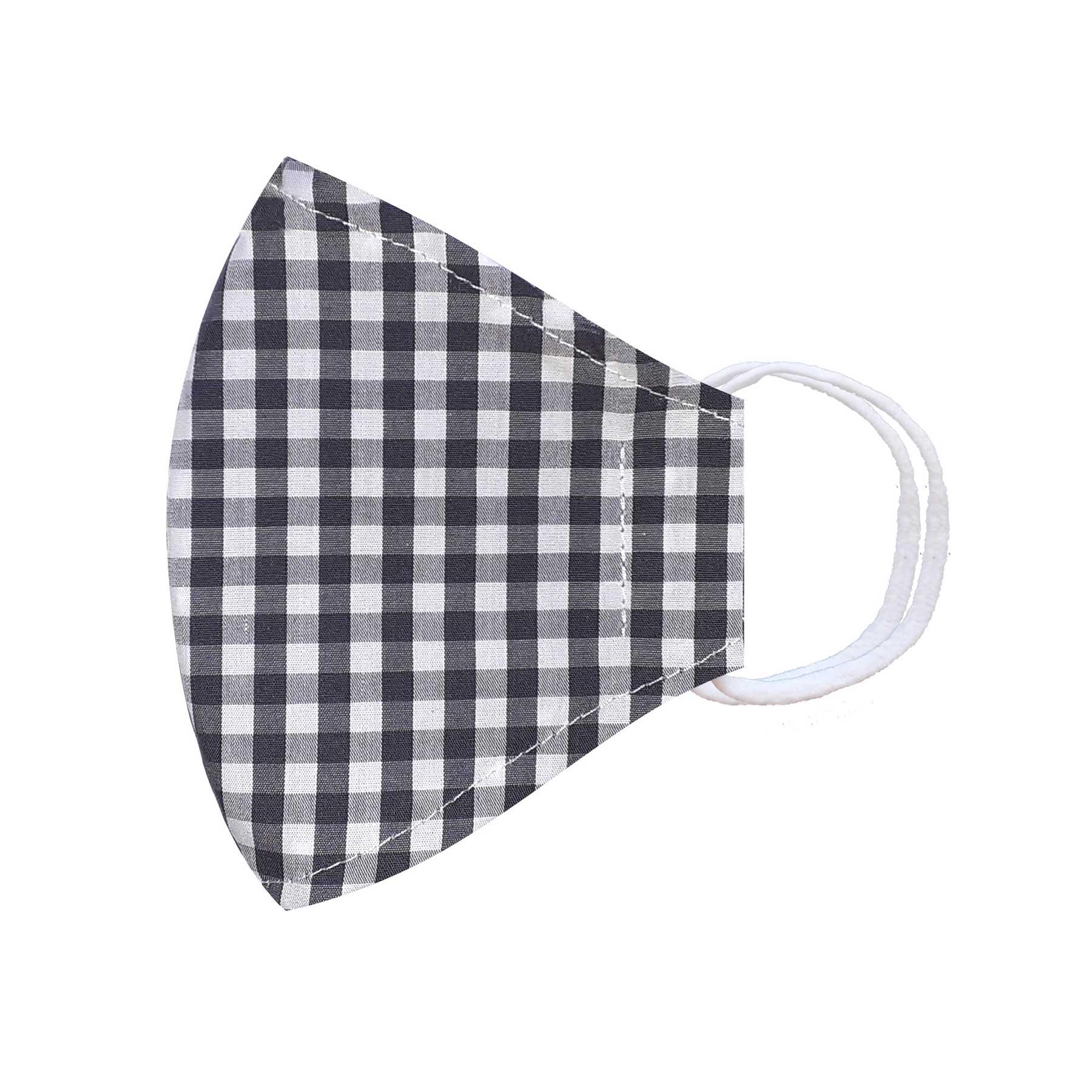 Módní třívrstvé bavlněné ústní roušky tvarované, bílá s šedobílou kostkou s gumičkami dámské