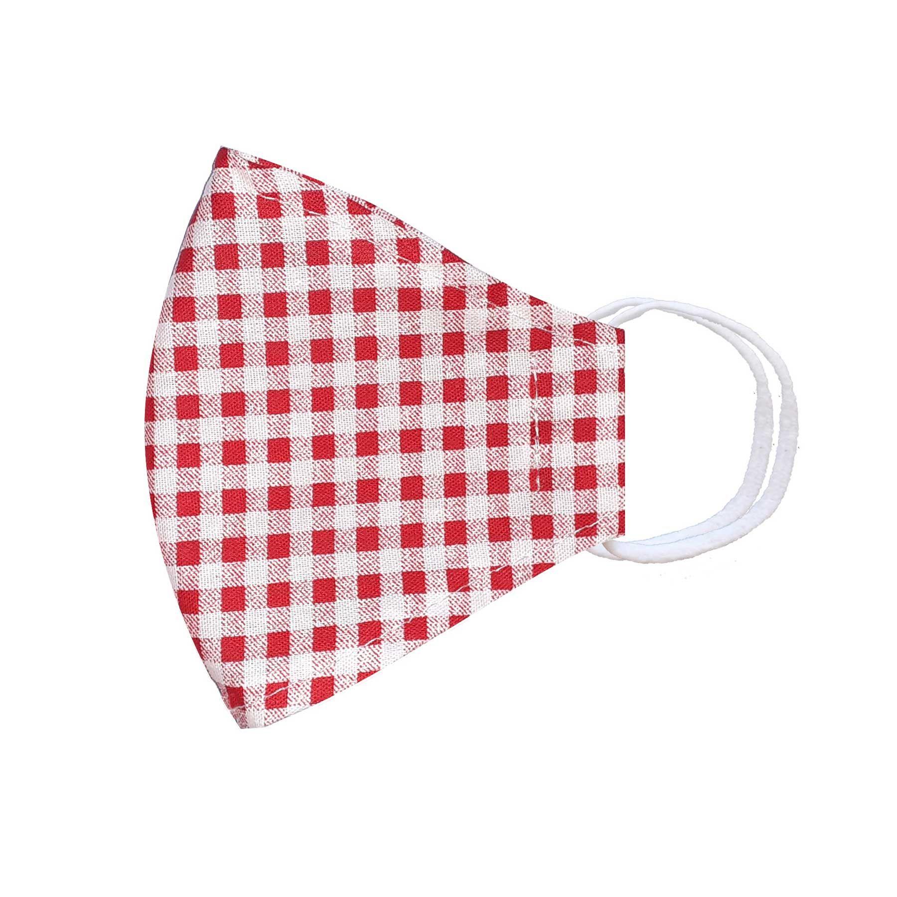 Módní třívrstvé bavlněné ústní roušky tvarované, bílá s červenobílou kostkou s gumičkami dětské