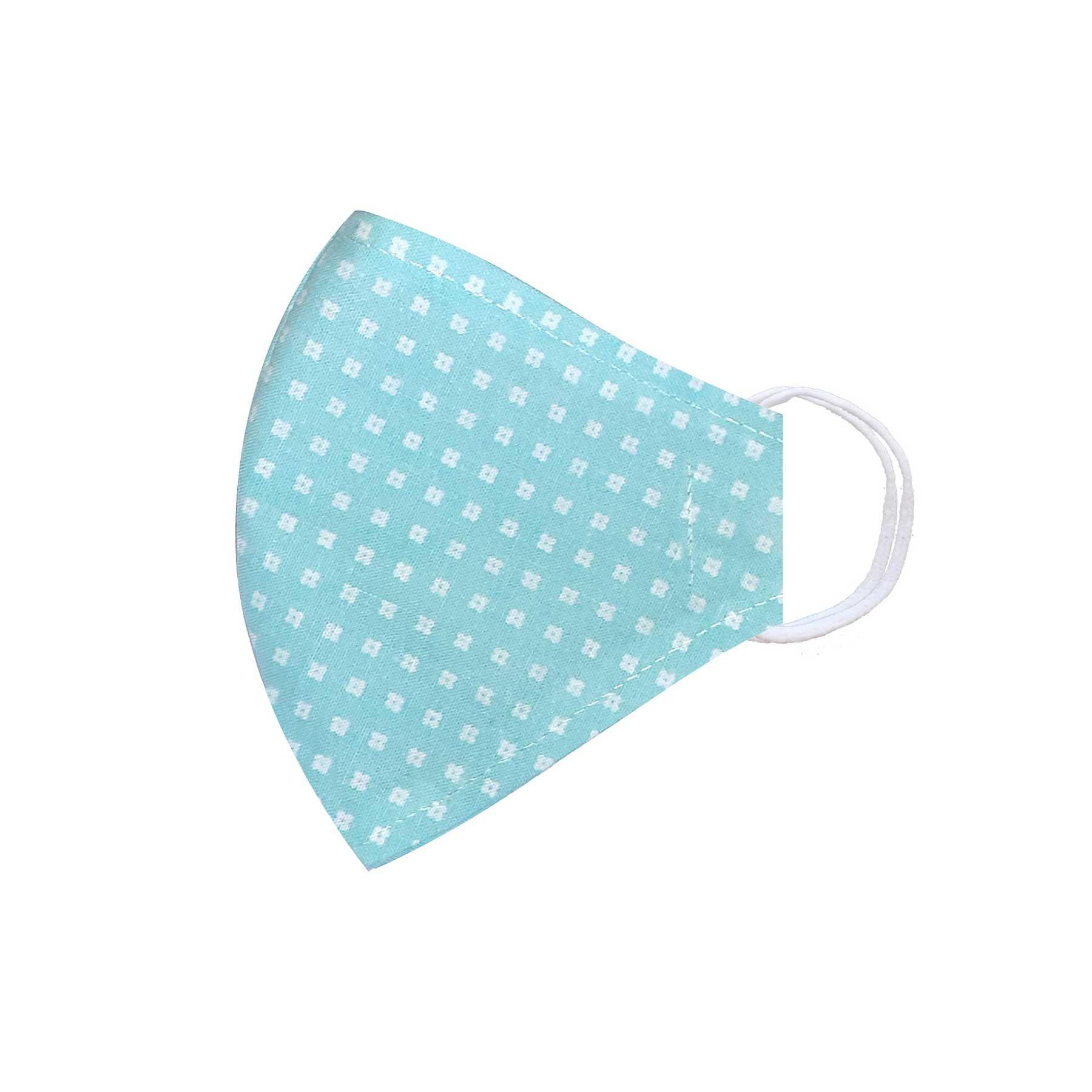 Módní třívrstvé bavlněné ústní roušky tvarované, světle modrá s bílými kytičkami s gumičkami dětské