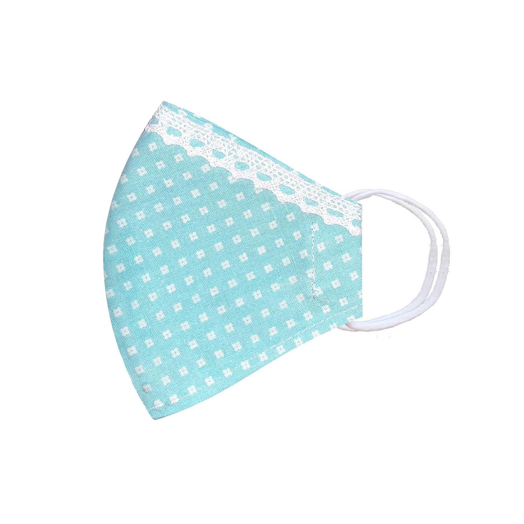 Módní třívrstvé bavlněné ústní roušky tvarované, světle modrá s bílými kytičkami a krajkou s gumičkami dámské