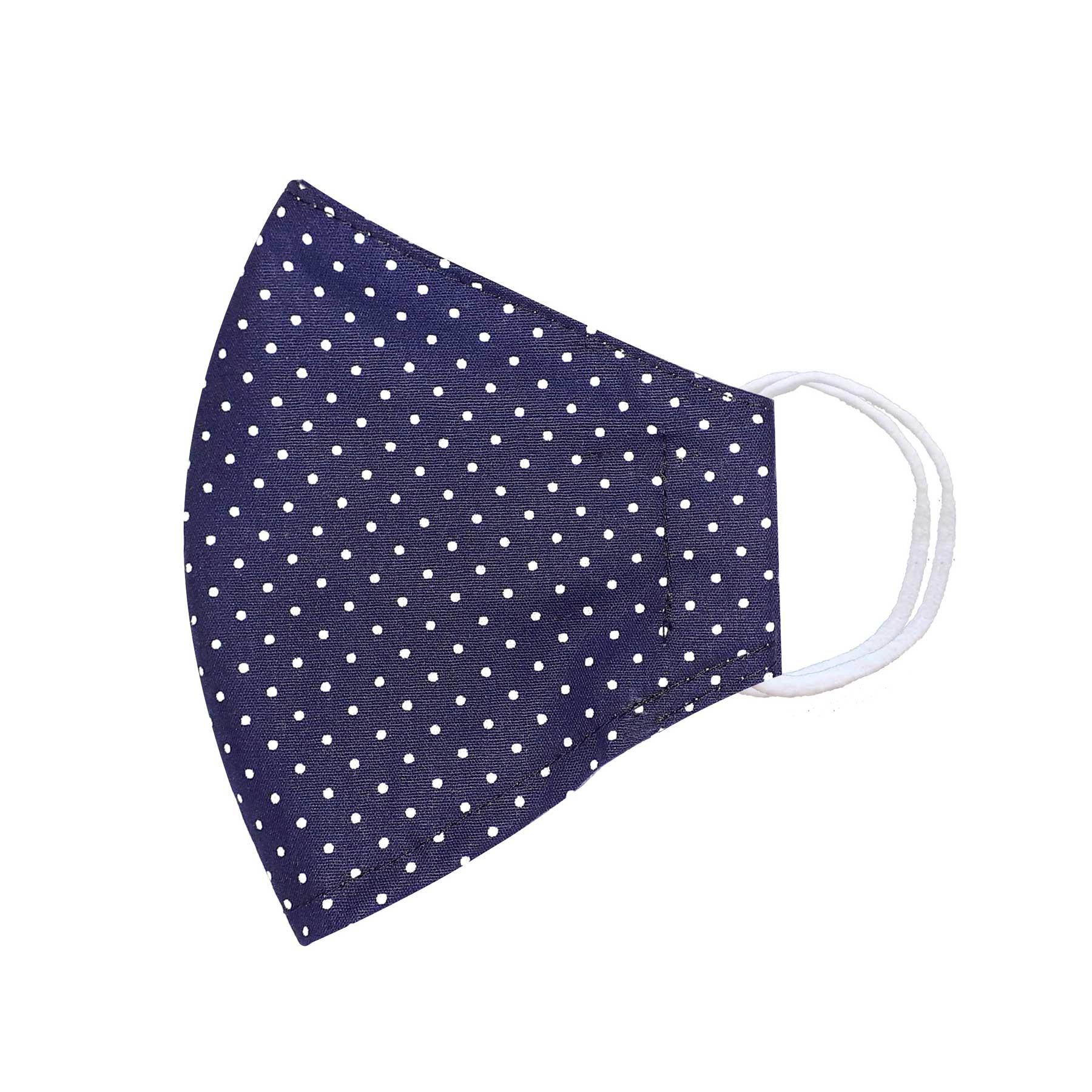 Módní bavlněné ústní roušky třívrstvé tvarované, tmavě modrá s bílými puntíky s gumičkami pánské