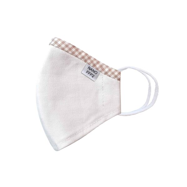 třívrstvá bílá s lemem módní rouška s gumičkami tvarovaná s nano filtrem a aktivním stříbrem třída FFP2