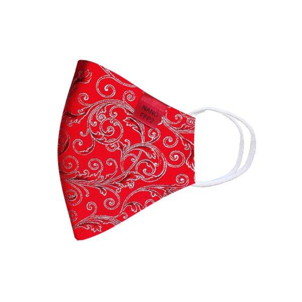 třívrstvá červená se stříbrným ornamentem módní rouška tvarovaná s nano filtrem a aktivním stříbrem třída FFP2