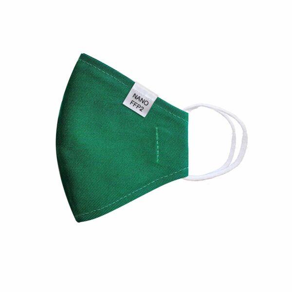 třívrstvá zelená módní rouška s gumičkami tvarovaná s nano filtrem a aktivním stříbrem třída FFP2