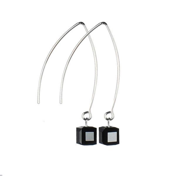 Náušnice GeorGina zdobené Swarovski® crystals, cube black
