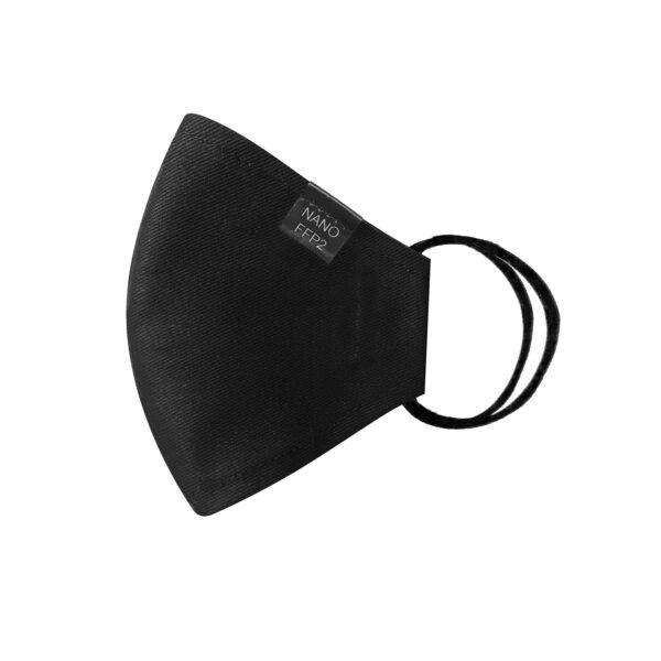 třívrstvá černá módní rouška tvarovaná s nano filtrem a aktivním stříbrem třída FFP2